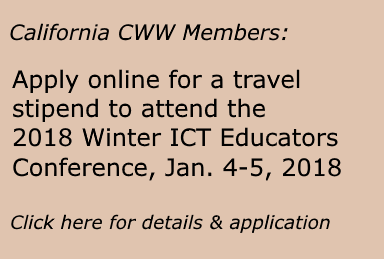 CyberWatch West educational members located in California are invited to apply online for travel stipends to help them attend the 2018 ICT Educators Conference in San Jose January 4-5, 2018.