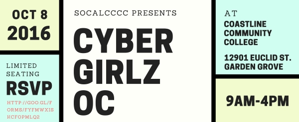 CyberWatch West member school Coastline Community College in Garden Grove, CA, is hosting a free one-day hands-on cybersecurity event for girls ages 10–18 (5th grade to 12th grade) on Saturday, October 8, 2016, 9 am - 4 pm.